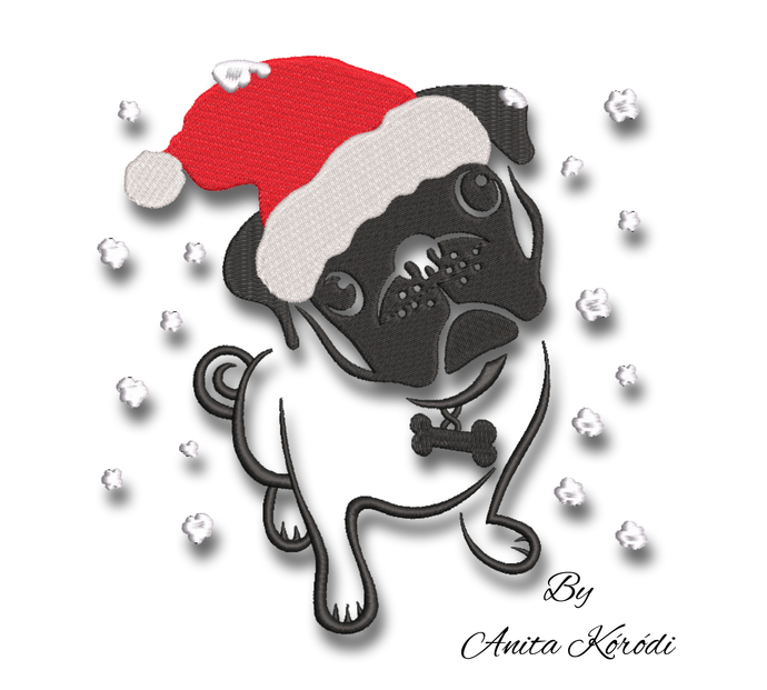 Christmas Pug Embroidery Machine Designs animal pattern pes digital instant