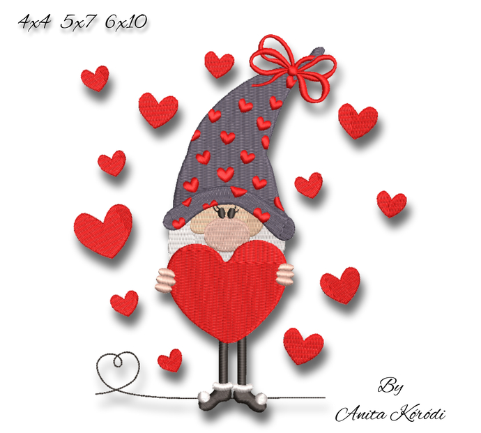 Christmas gnome embroidery machine designs love hearts instant digital download