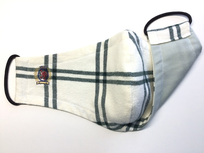 Face Mask - Tommy Hilfiger Vintage 90's Green & Cream Windowpane Flannel with