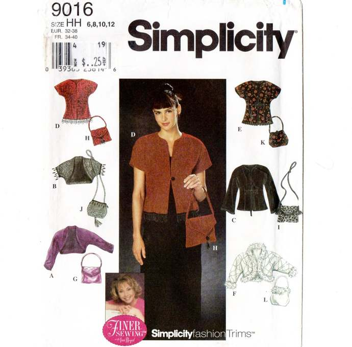 Simplicity 9016 Misses Jacket, Purse, Shrug 90s Vintage Sewing Pattern Uncut
