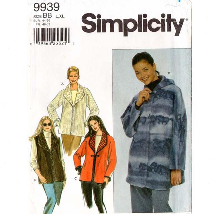 Simplicity 9939 Misses Jacket, Vest Sewing Pattern Uncut Size L, XL  Bust 40 -