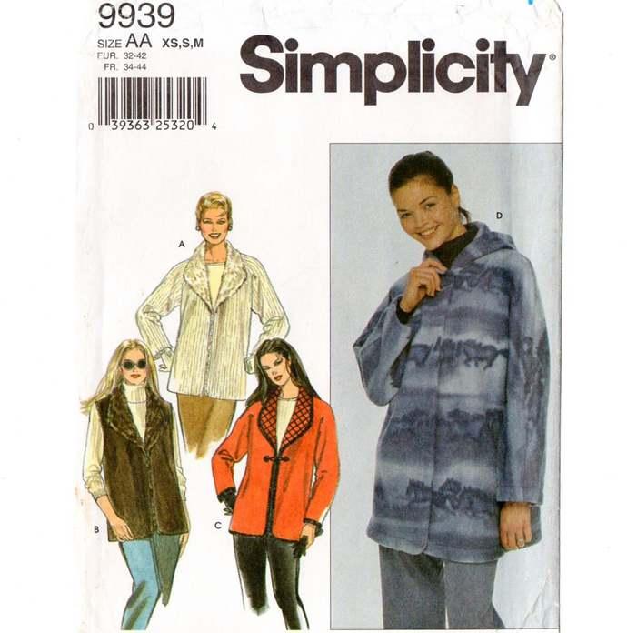 Simplicity 9939 Misses Jacket, Vest Sewing Pattern Uncut Size XS, S, M  Bust 30