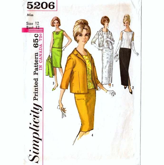 Simplicity 5206 Misses Suit Skirt, Blouse, Jacket 60s Vintage Sewing Pattern