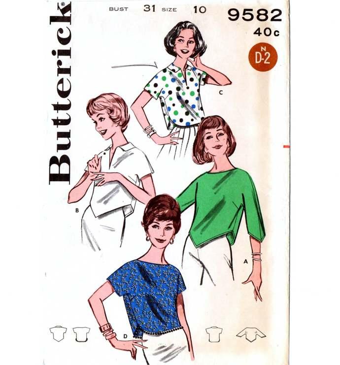 Butterick 9582 Misses Cropped Blouse 60s Vintage Sewing Pattern Uncut Size 10