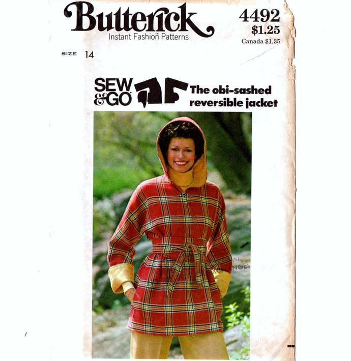 Butterick 4492 Misses Hooded Wrap Jacket 70s Vintage Sewing Pattern Uncut Size
