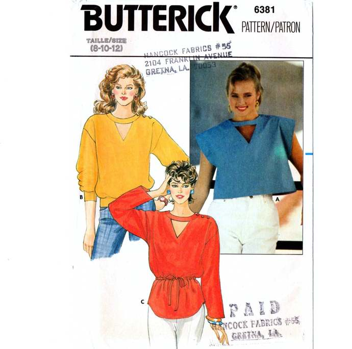Butterick 6381 Misses Loose Fitting Blouse 80s Vintage Sewing Pattern Uncut Size