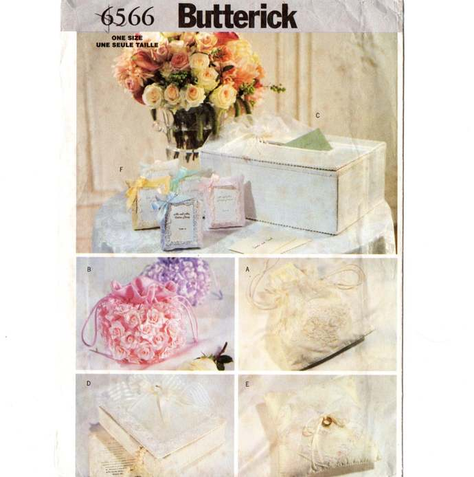 Butterick 6566 Bridal Accessories Bag, Ring Pillow, Card Box Sewing Pattern