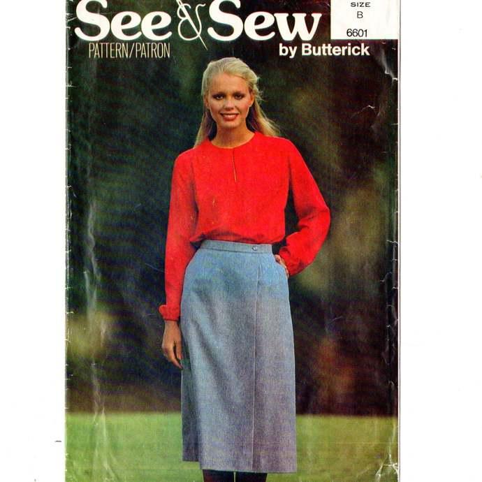 Butterick 6601 Misses  Blouse, Wrap Skirt 80s Vintage Sewing Pattern Uncut Size