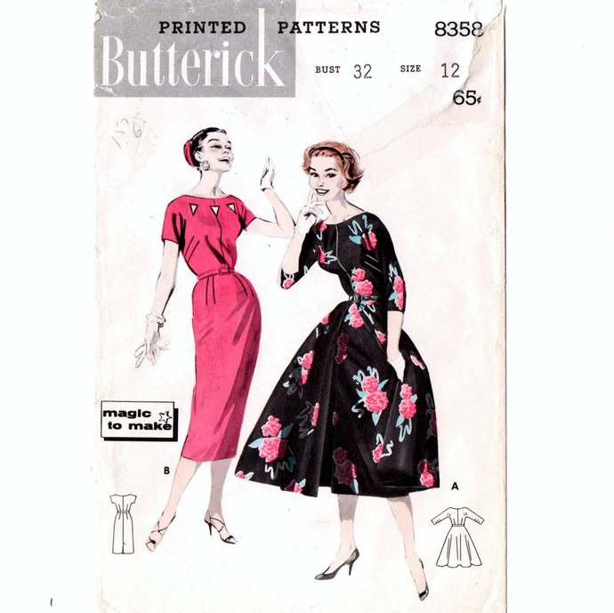 Butterick 8358 Misses Sheath Dress Flared Overskirt 50s Vintage Sewing Pattern