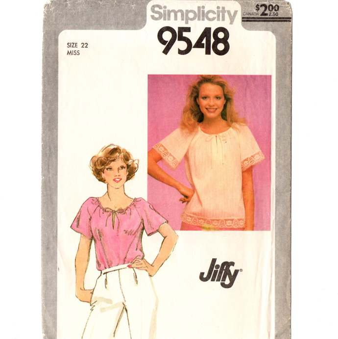 Simplicity 9548 Misses Jiffy Pullover Top 80s Vintage Sewing Pattern Plus Size