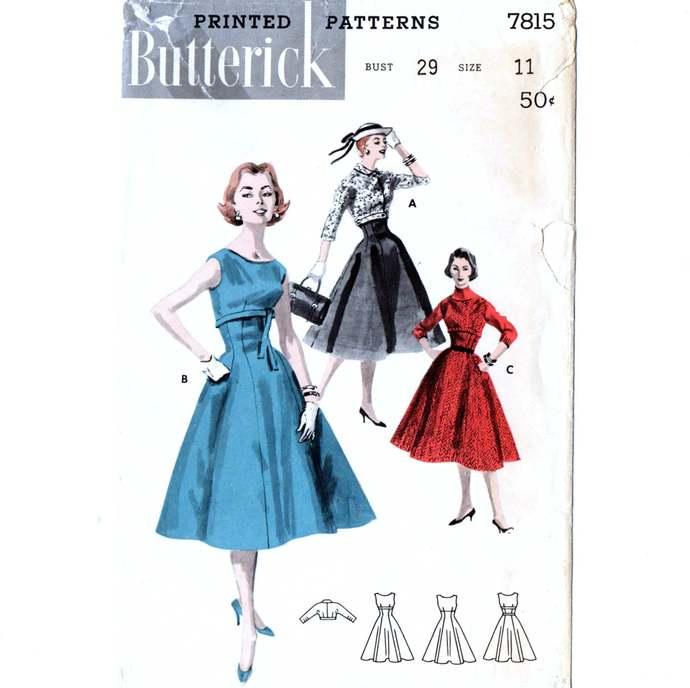 Butterick 7815 Jr Miss Dress, Jumper, Jacket 50s Vintage Sewing Pattern Size 11