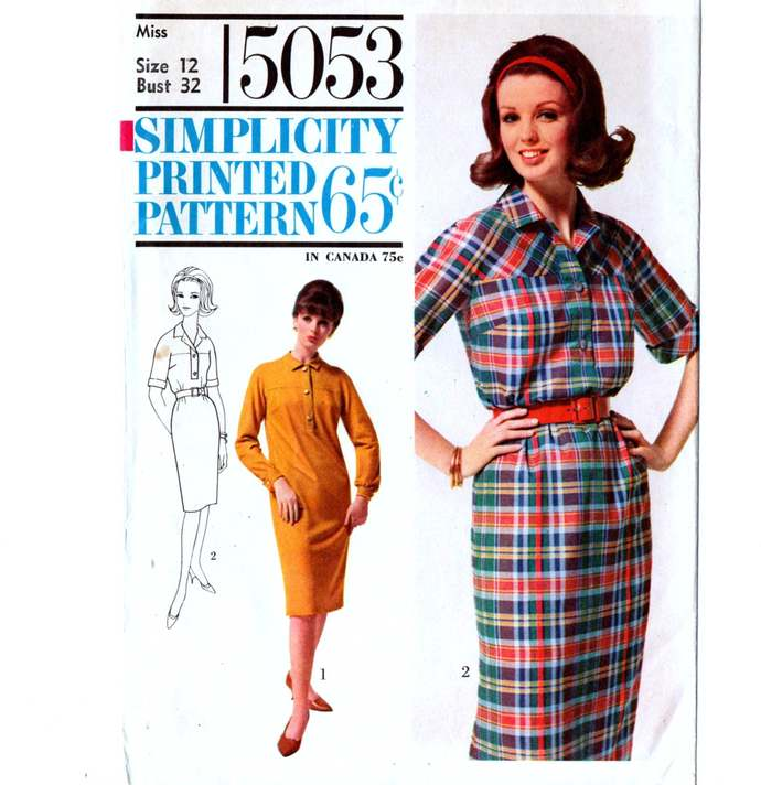 Simplicity 5053 Misses Yoked Shift Dress 60s Vintage Sewing Pattern Uncut Size
