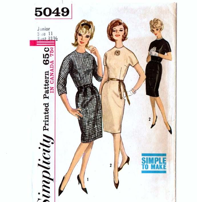Simplicity 5049 Jr Miss Basic Dress Straight Skirt 60s Vintage Sewing Pattern