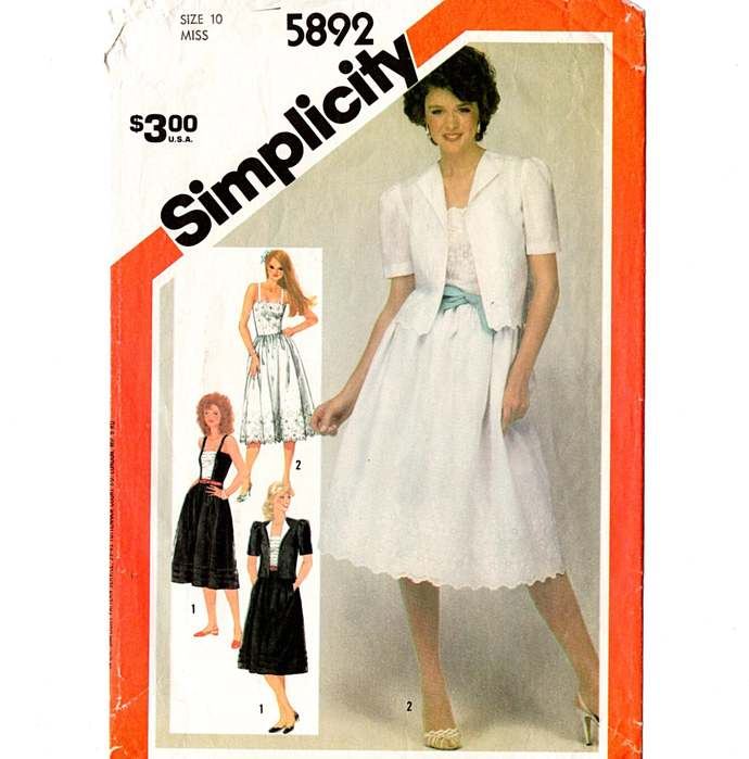 Simplicity 5892 Misses Sundress, Jacket 80s Vintage Sewing Pattern Size 10 Bust