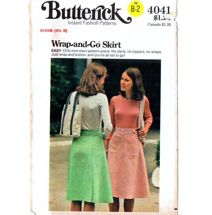 Butterick 4041 Misses Back Wrap Skirt 70s Vintage Sewing Pattern Uncut Size