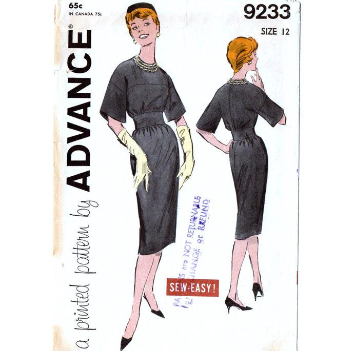 Advance 9233 Misses Dress 60s Vintage Sewing Pattern Size 12 Bust 32 Wide
