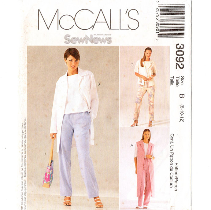 McCall's 3092 Misses Jacket, Vest, Top, Pants Vintage Sewing Pattern Uncut Size