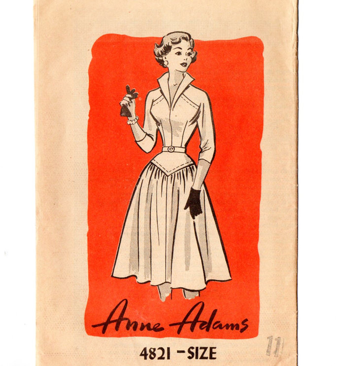 Anne Adams 4821 Misses Fitted, Flared Dress 50s Vintage Sewing Pattern Uncut