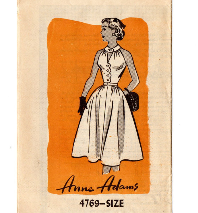 Anne Adams 4769 Junior Miss Halter Dress 50s Vintage Sewing Pattern Uncut Size