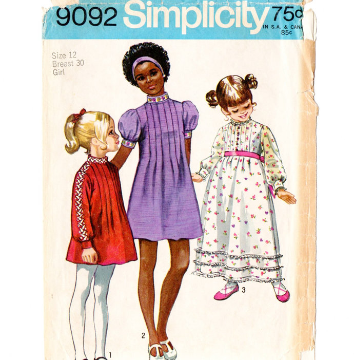 Simplicity 9092 Girls Dress Two Lengths 70s Vintage Sewing Pattern Size 12 Bust