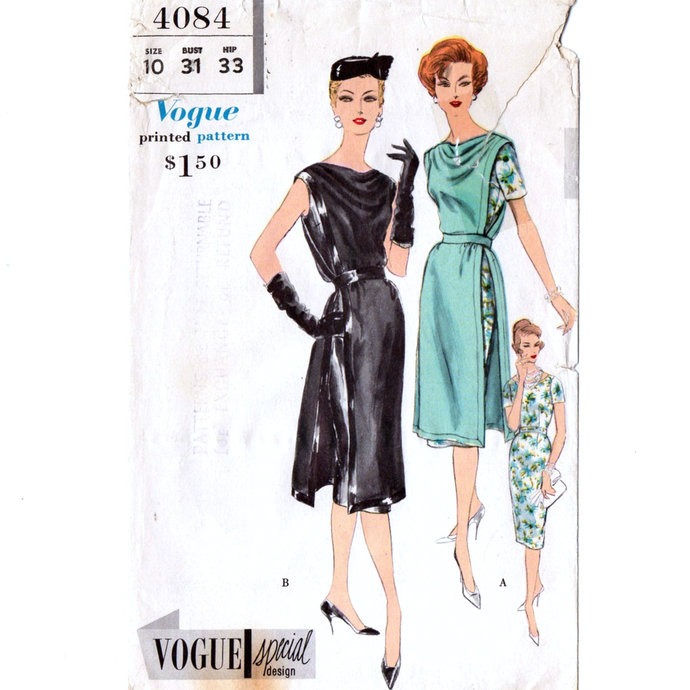 Vogue 4084 Misses Dress, Tunic 50's Vintage Sewing Pattern Size 10 Bust 31