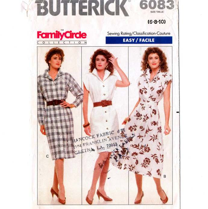 Butterick 6083 Misses Dress Straight or Flared 80s Vintage Sewing Pattern Size