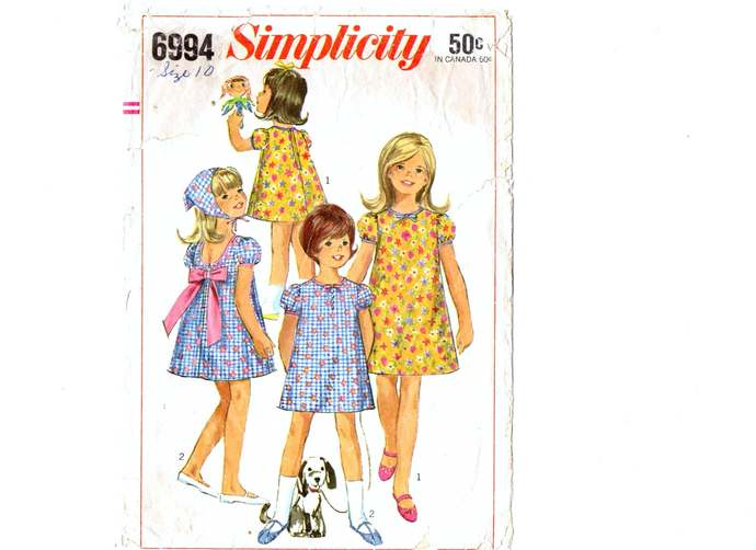 Simplicity 6994 Girls Dress, Scarf 60s Vintage Sewing Pattern Size 10 Chest 28