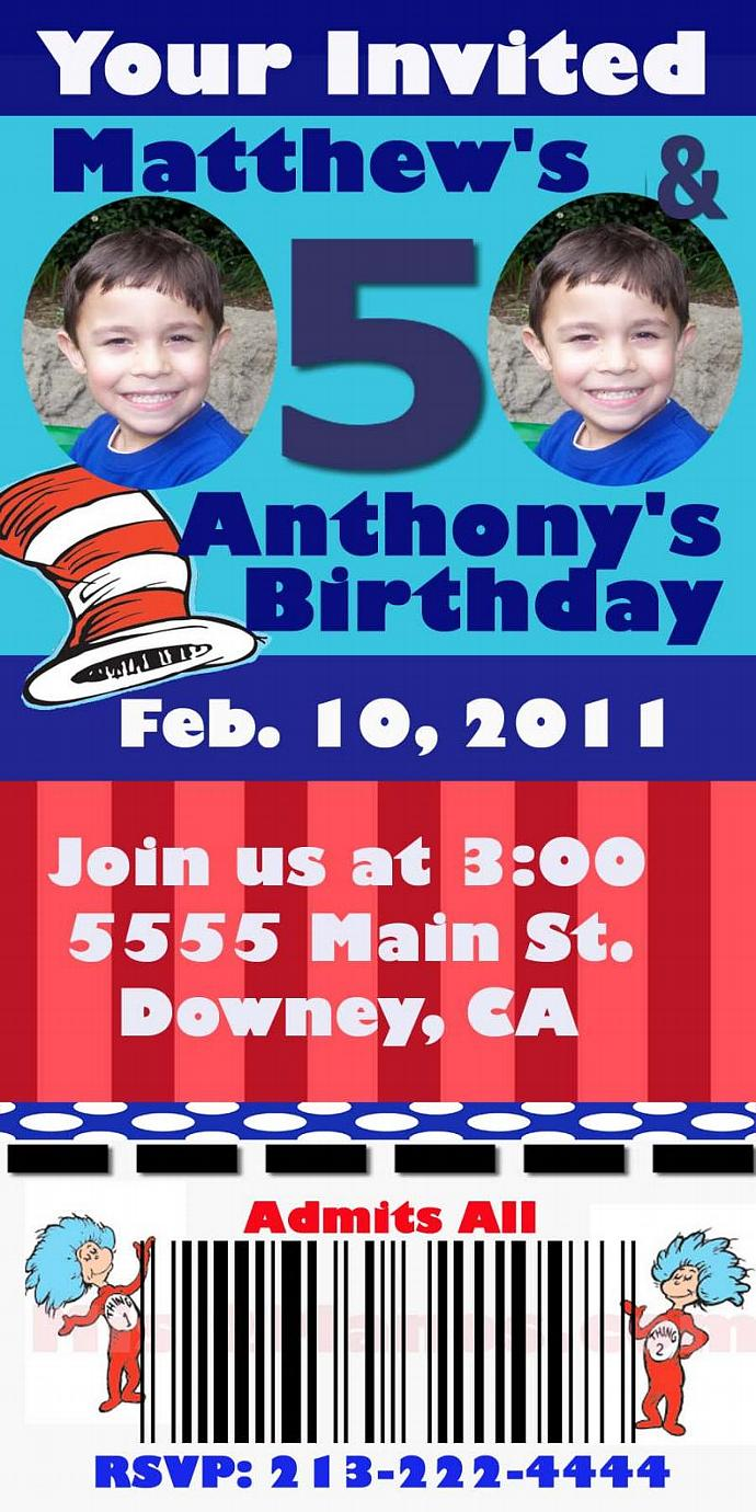 Birthday Cat in the Hat Printable Birthday Invitations, Ticket One Hour
