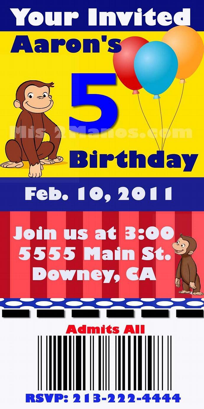Birthday Monkey Printable Birthday Invitations, Ticket One Hour Printable Photo