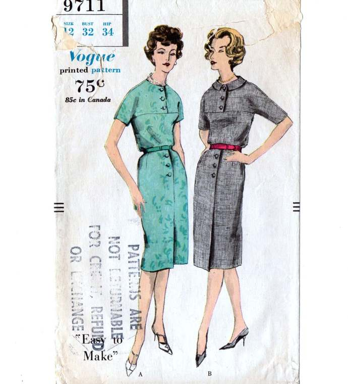 Vogue 9711 Misses Dress, Slim Skirt 50s Vintage Sewing Pattern Size 12 Bust 32