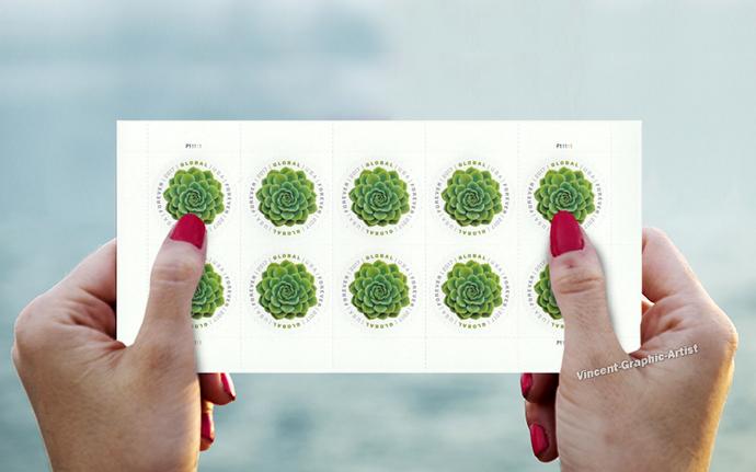 10 Global International Forever Stamps Green Succulent 1 Sheet Scott 5198