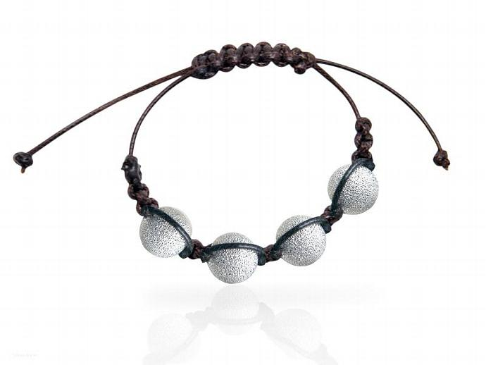 Exotic Bracelet Brown Leather Silver Plated Beads