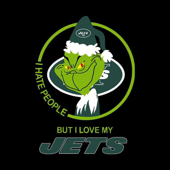 New York Jets NFL svg, Christmas Grinch I Hate People But I Love My Favorite