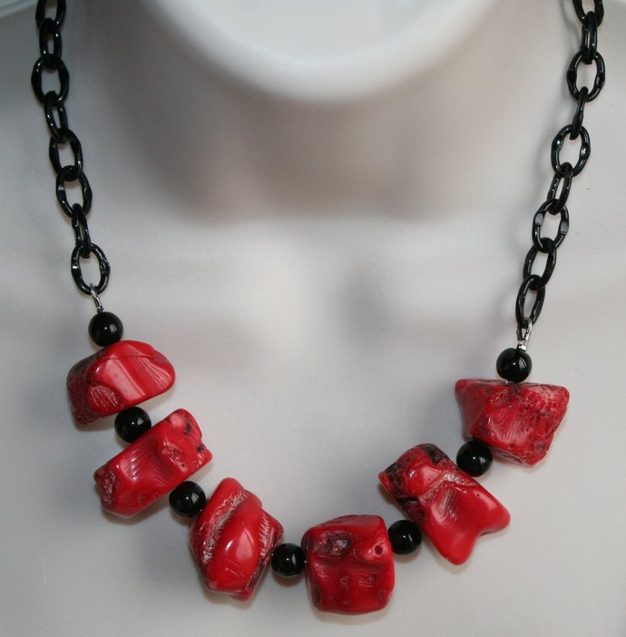 Chunky Red Bamboo Coral Statement Bib Necklace, Raw Large Coral and Black Onyx