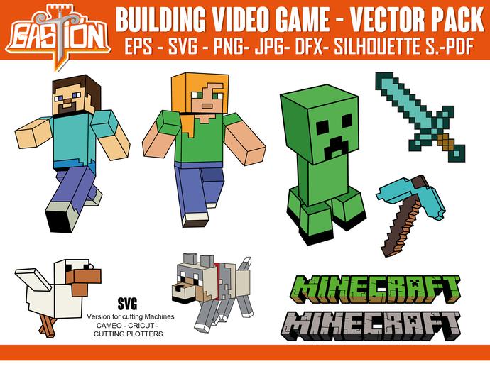 BUILDING VIDEO GAME vector pack| Instant Digital Download , cricut, Svg | Png |