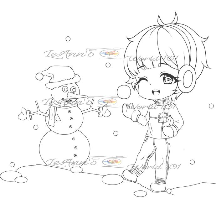 Snowball Fight - Digital Stamp