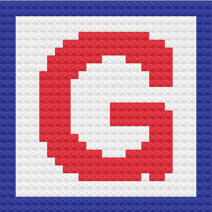 Children's Toy Block Letter G Throw Pillow C2C Crochet Pattern PDF Graph &