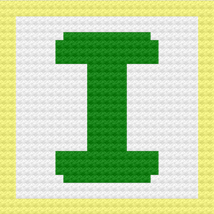 Children's Toy Block Letter I Throw Pillow C2C Crochet Pattern PDF Graph &