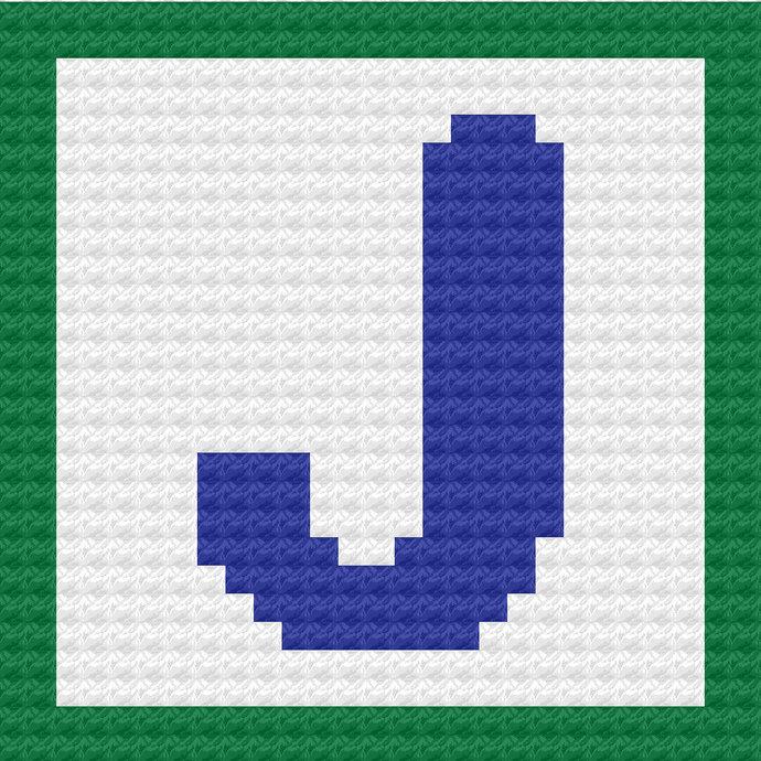 Children's Toy Block Letter K Throw Pillow C2C Crochet Pattern PDF Graph &