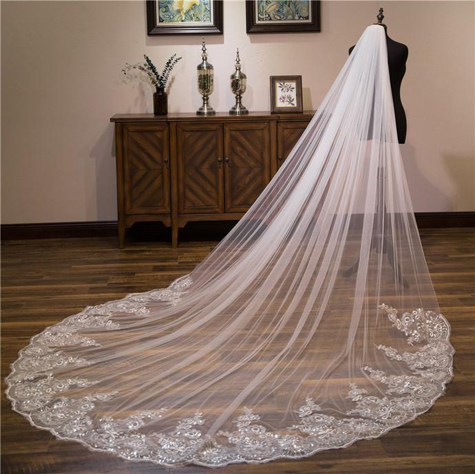 Elegant Lace Edge Sequins Cathedral Length Bridal Wedding Veil+Comb