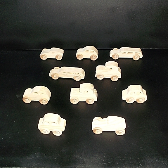 10 Handcrafted Wood Toy Cars  OT-13  unfinished or finished