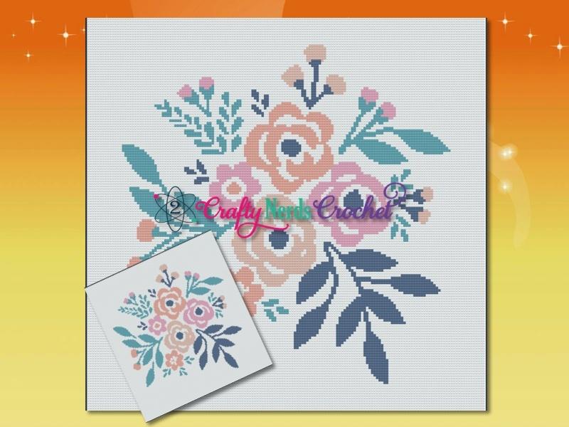Flower Bouquet Pattern Graph with SC Single Crochet Written