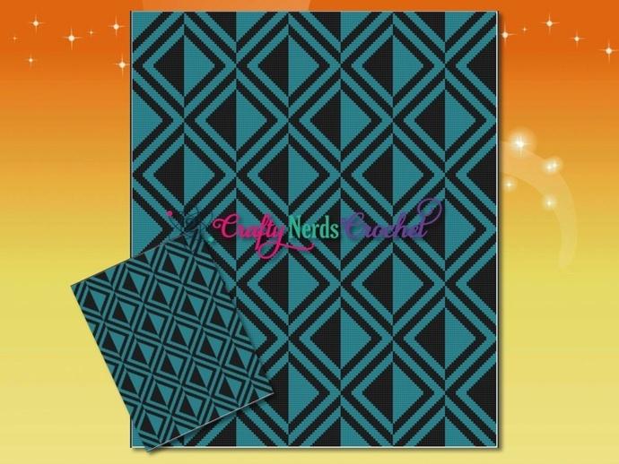 Diamond Mismatch Illusion Pattern Graph With Single Crochet Written