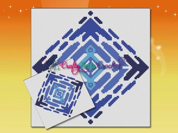 Artistic Diamond Pattern Graph With Mini C2C Written