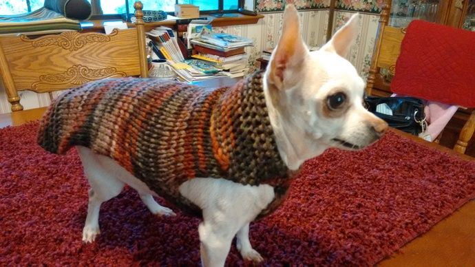 Fun Variegated Brown Sweater, Cozy dog Apparel, Fall Pet Wear, Stylish Dog