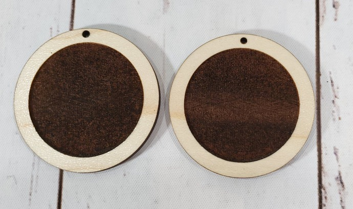 Round ~ Maple Wood ~ Inlay Earring Blanks