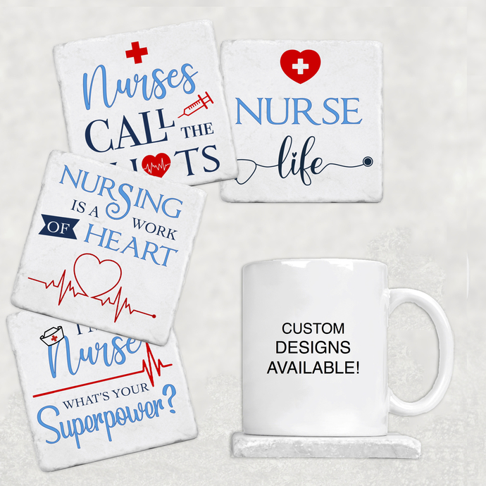 Nursing Coasters Home Decor Kitchen Drinkware Funny Humor Doctor Hospital Nurse