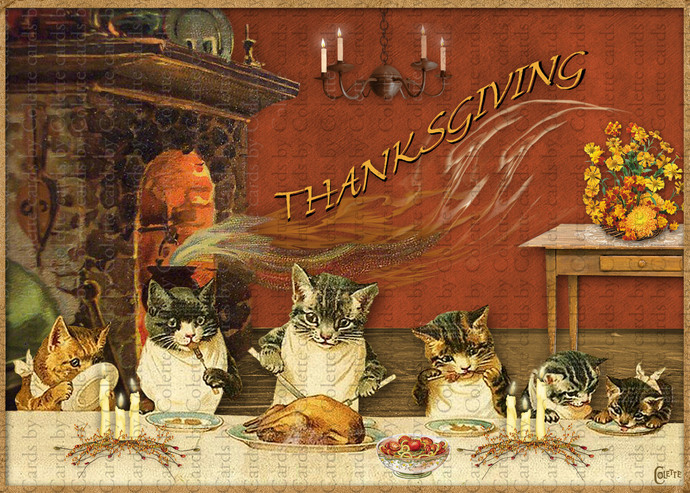 Cats Celebrating Thanksgiving Digital Collage Greeting Card3036