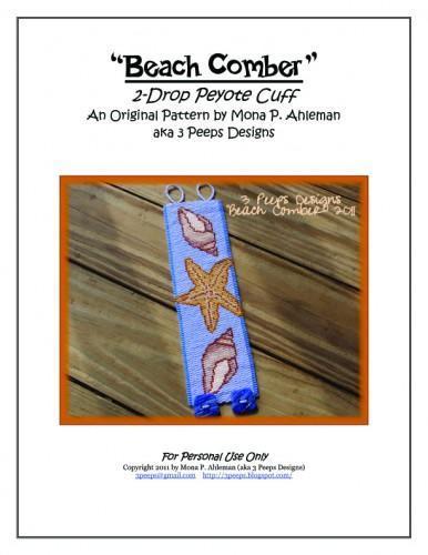 Beach Comber Peyote Cuff Pattern by 3 Peeps Designs
