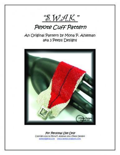 S.W.A.K. 3-drop Peyote Cuff Pattern by 3 Peeps Designs